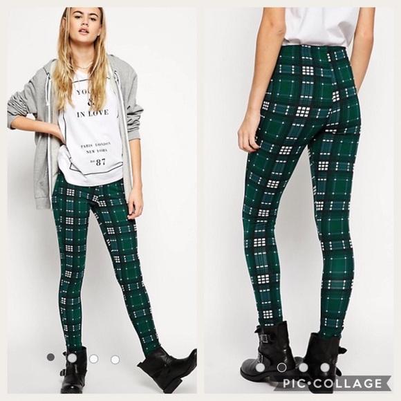 1ee686cde9237 ASOS Pants | Leggings Green Black Plaid Check Size 2 New | Poshmark